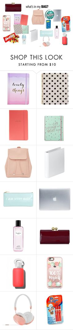 """In My Bag 2016"" by xxsacredwolfxx ❤ liked on Polyvore featuring Boohoo, Kate Spade, New Look, Incase, Victoria's Secret, Ted Baker, bkr, Casetify, Frends and backpack"