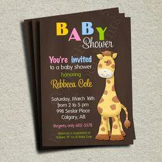 Giraffe Baby Shower Invitation - DIY You Print - Unlimited Copies