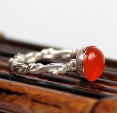 Anello di corniola intrecciato Band anello di thesilverstudio