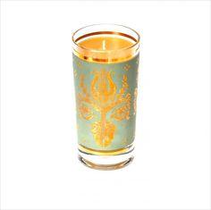 100% Pure Beeswax Candle in Vintage Barware, Sage Green Fleur de Lis Mod Barware, vintage wedding table