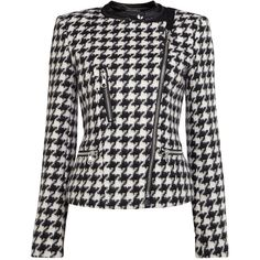 Oui Houndstooth zip biker jacket ($190) ❤ liked on Polyvore featuring outerwear, jackets, coats, black, clearance, black zipper jacket, black moto jacket, black zip jacket, black motorcycle jacket and hounds tooth jacket