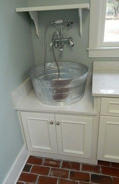Gorgeous Laundry Sinks convention Other Metro Farmhouse Laundry Room Innovative Designs with custom laundry sink metal tub sink Rustic Laundry Rooms, Laundry Room Sink, Laundry Room Remodel, Farmhouse Laundry Room, Laundry Room Organization, Laundry Room Design, Ikea Laundry, Laundry Tubs, Farmhouse Sinks