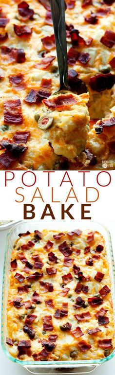This Potato Salad Bake is your favorite potato salad turned into a warm and chee. This Potato Salad Bake is your favorite potato salad turned into a warm and cheesy gratin casserole. Easter Recipes Sides, Side Dish Recipes, Potato Dishes, Food Dishes, Potato Snacks, Potato Recipes, Chicken Recipes, Vegetable Side Dishes, Vegetable Recipes