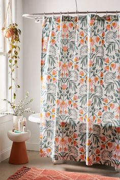 Shop Camille Floral Shower Curtain at Urban Outfitters today. We carry all the latest styles, colors and brands for you to choose from right here. Cute Shower Curtains, Colorful Shower Curtain, Flower Shower Curtain, Shower Curtain Hooks, Colorful Curtains, Bathroom Curtains, Plywood Furniture, Furniture Design, Chair Design