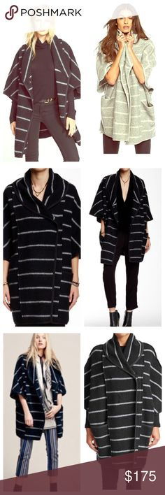 FREE PEOPLE Blanket Poncho NWT Striped FREE PEOPLE Poncho with a cozy shawl collar and slanted snap placket. Sold Out EVERYWHERE. Color is Black. Retail $198. Size is XS- very oversized fit. See fabric content and measurements above in photo 4.  Vegan leather trim. Free People Jackets & Coats Capes