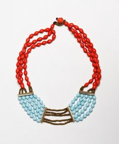 Ruth Necklace, Turquoise and Red 56 -> 44.80