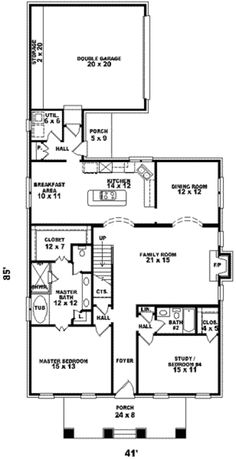 Bungalow Style House Plan - 4 Beds 4 Baths 2881 Sq/Ft Plan #81-955