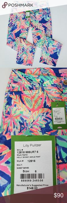 434047b2094 Lilly Pulitzer NWT sunset safari pique pants 6 Great pants hard print to  find 6 Nwt