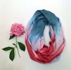 Long Linen Scarf  Spring Infinity Scarf  Hand Dyed by lyralyra