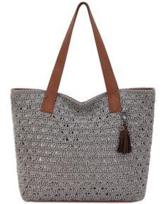 The Sak Fairmont Crochet Tote - Gray Crochet Tote, Hand Crochet, Knit Crochet, Bag Pattern Free, Leather Handle, Tote Handbags, Handbag Accessories, Tote Bag, Purses