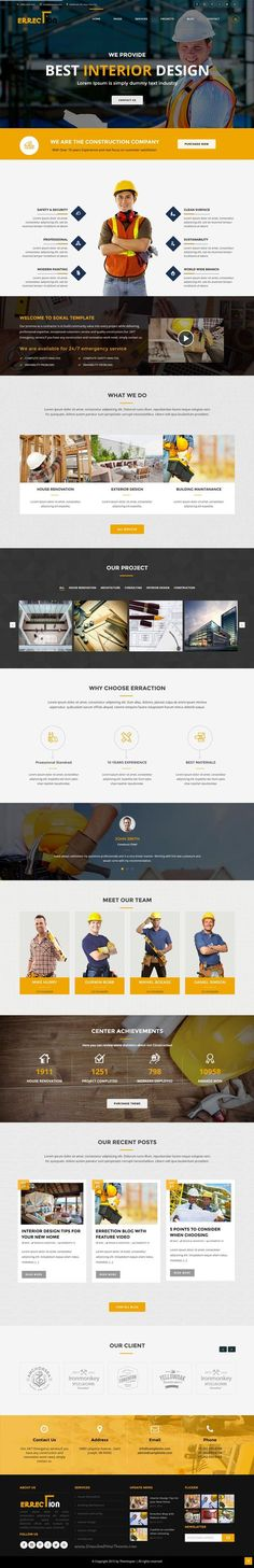 Erraction is professional Bootstrap HTML #template specially for #building and #construction companies website. Download Now!
