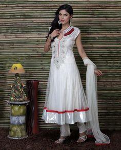 White Net Anarkali Suit with Crochet Lace