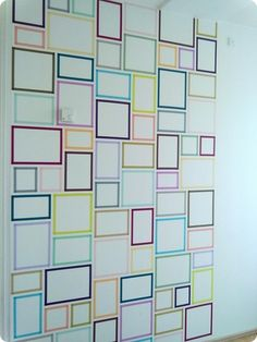washi tape wall project, as photo frames Tape Art, Tape Wall Art, Washi Tape Wall, Washi Tape Crafts, Washi Tapes, Cadre Diy, Decoracion Low Cost, Photo Displays, Diy Wall