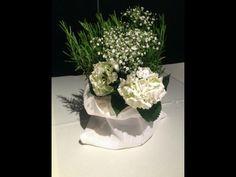 Erbe aromatiche, ortensia, velo da sposa. Cache pot di lino