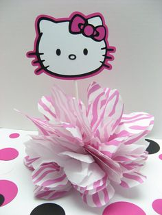 Hello Kitty pompom baby shower decoration by missdaisyw on Etsy, $8.00