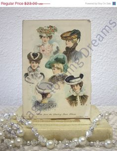 SALE Victorian Hat Store Display Sign from by VintageClothingDream, $17.25