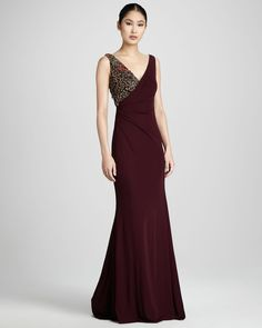 Badgley Mischka Couture Ruched Bead-Detail Gown - Neiman Marcus