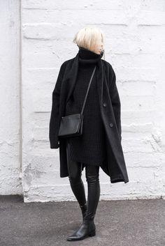 All black fall wardrobe: waffle sweater, black leather pants