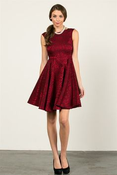 Princess Cut Lace Dress - Red