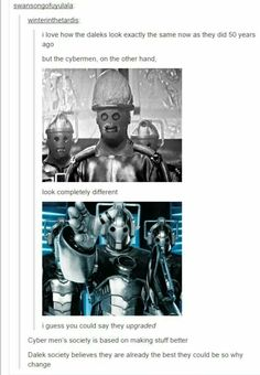 Cybermen vs Daleks...one of the few bits of continuity on this wonderful show