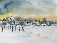 Schneewolken über Sanitz © Aquarell von Frank Koebsch, 24 x 32 cm, $190