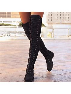 Women's Flats Closed Toe Boots Over The Knee Boots Flat Heel PU Lace-up Boots, veryvoga Flat Boots, Thigh High Boots, High Heel Boots, Over The Knee Boots, Heeled Boots, Shoe Boots, Ankle Boots, High Heels, Women's Shoes