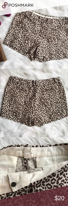 J. Crew Linen Cheetah Print Shorts Adorable brown and cream Cheetah Print shorts by J. Crew. 100% Linen. In excellent used condition other than pilling and fading in inner thigh area, which isn't noticeable when worn. This shorts are very comfy and fun! Measurements to come. J. Crew Shorts