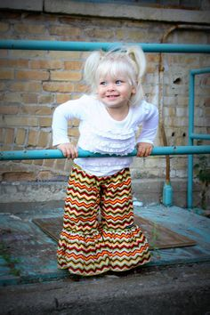 Girls Ruffle Pants Autumn Hues Chevron  Made from by LadyBeez
