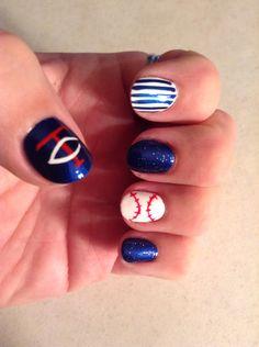 Baseball Fan Nails! Love my Minnesota Twins!
