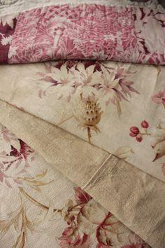 Vintage French fabrics antique material PROJECT BUNDLE madder homespun hemp   www.textiletrunk.com