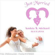 Wandtattoo Hochzeit - Just Married Silhouettenpaar im Herz
