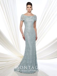 Ivonne D Exclusively for Mon Cheri - 215D03 - Lace fit and flare gown with short sleeves, wide bateau portrait collar, back covered buttons, lace appliqué placed around back thigh, sweep train.Sizes: 4 – 20Colors: Aqua, Fresh Aubergine