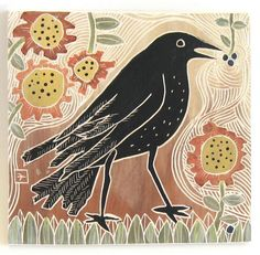 hand carved ceramic art tile late summer crow by crowfootstudio