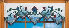 Quilted Window Treatment  This quilted birdhouse window valance can be adapted to a table runner or mantel decoration too.