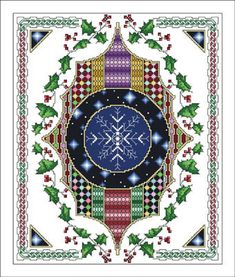 Vickery Collection Celtic December - Cross Stitch Pattern. Model stitched on 16 Ct. White Aida with DMC floss. Stitch Count: 120x192.