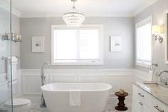 love light grey paint color....amdolcevita: AM Dolce Vita - Bathroom moulding · Bathroom wainscoting. Bianco Carrara 12x12 floor ...