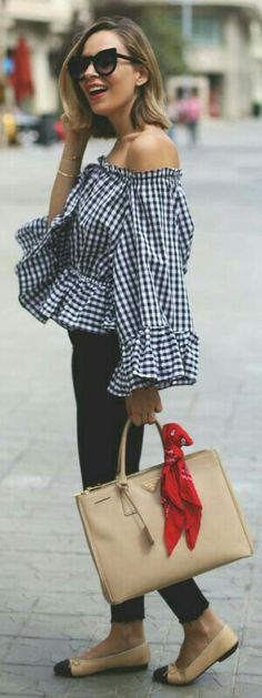 Gingham off the shoulder