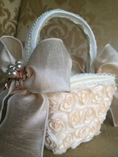blush flower girl basket with rose gold brooch by TheCrystalFlower, $138.00