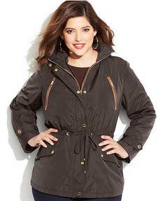 MICHAEL Michael Kors Plus Size Faux-Leather-Trim Hooded Anorak Jacket - Coats - Women - Macy's