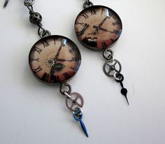Steampunk vintage watch parts and resin assemblage earrings in sterling silver by jryendesigns.etsy.com
