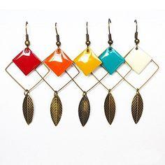 boucle d'oreille plume pendante coloré anneau carré émail sequin émaillé feuille pendante métal bijou bohème personnalisé tendance ethnique cadeau petit prix - 5 COULEURS