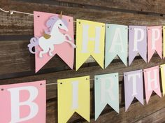 Happy Birthday Unicorn Party Banner First Birthday Baby