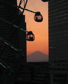 みなとみらい 横浜 サンセット 夕焼け sunset 富士山 コスモクロック
