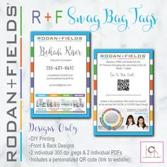 Rodan and Fields Swag Bag Tags - Promotion - Network Marketing materials  - Customizable - Stripes - R + F Personal website QR code included by KCKCreativeMarket on Etsy