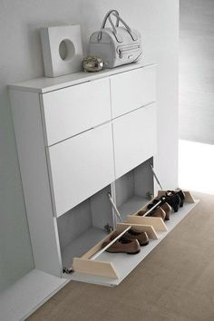 Shoe cabinet ideas you need to copy now. Thirty gorgeous modern shoe cabinet ideas you should use now. Feed your design ideas now. Wall Shoe Rack, Diy Shoe Rack, Shoe Racks, Hallway Shoe Storage, Shoe Cabinet Design, Shoe Storage Cabinet, Wall Mounted Shoe Storage, Shoe Storage Design, Shoe Rack Organization