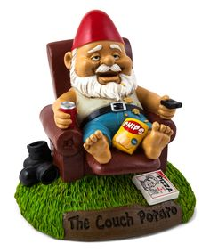 This Couch Potato Garden Gnome by BigMouth Inc. is perfect! #zulilyfinds