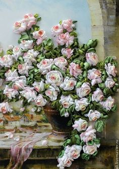 ....all i can say is, WOW! this silk ribbon embroidered roses are so lifelike!....what a beautiful masterpiece!...