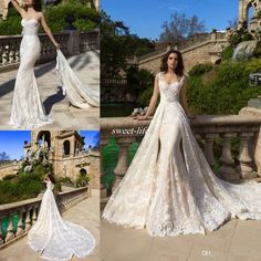 Full Lace A-Line Wedding Dresses Champagne Lining with Detachable Train Over Skirt Sweetheart Neck 2016 Spring Fall Bridal Gowns for Wedding Online with $140.88/Piece on Sweet-life's Store | DHgate.com