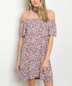 Take a look at this Red & Blue Floral Off-Shoulder Dress today!
