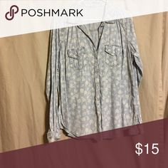 Flower print jean button down shirt Flower print button down shirt, worn once or twice in great condition. Maurices Tops Button Down Shirts